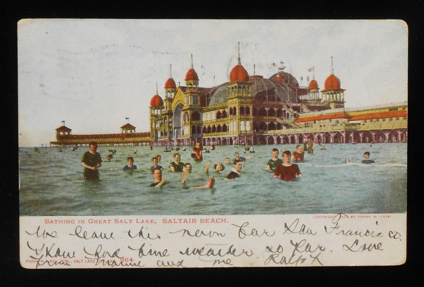 1906 Bathing In Great Salt Lake Saltair Beach Salt Lake City UT Salt Lake Co PC