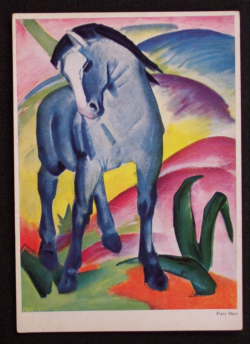 ak 1935 postcard franz marc blue horse blaues pferd munchen germany bavaria co ebay. Black Bedroom Furniture Sets. Home Design Ideas