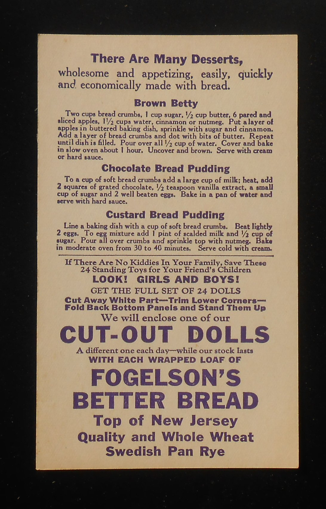 Newton (NJ) United States  city pictures gallery : Girl Cut Out Doll Fogelson's Better Bread Fogelson's Bakery Newton NJ ...
