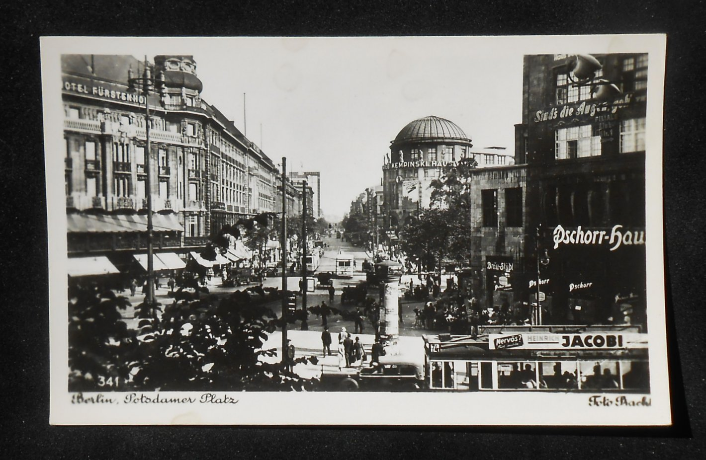 rppc 1920s potsdamer platz old cars stores signs bus trams truck berlin germany ebay. Black Bedroom Furniture Sets. Home Design Ideas