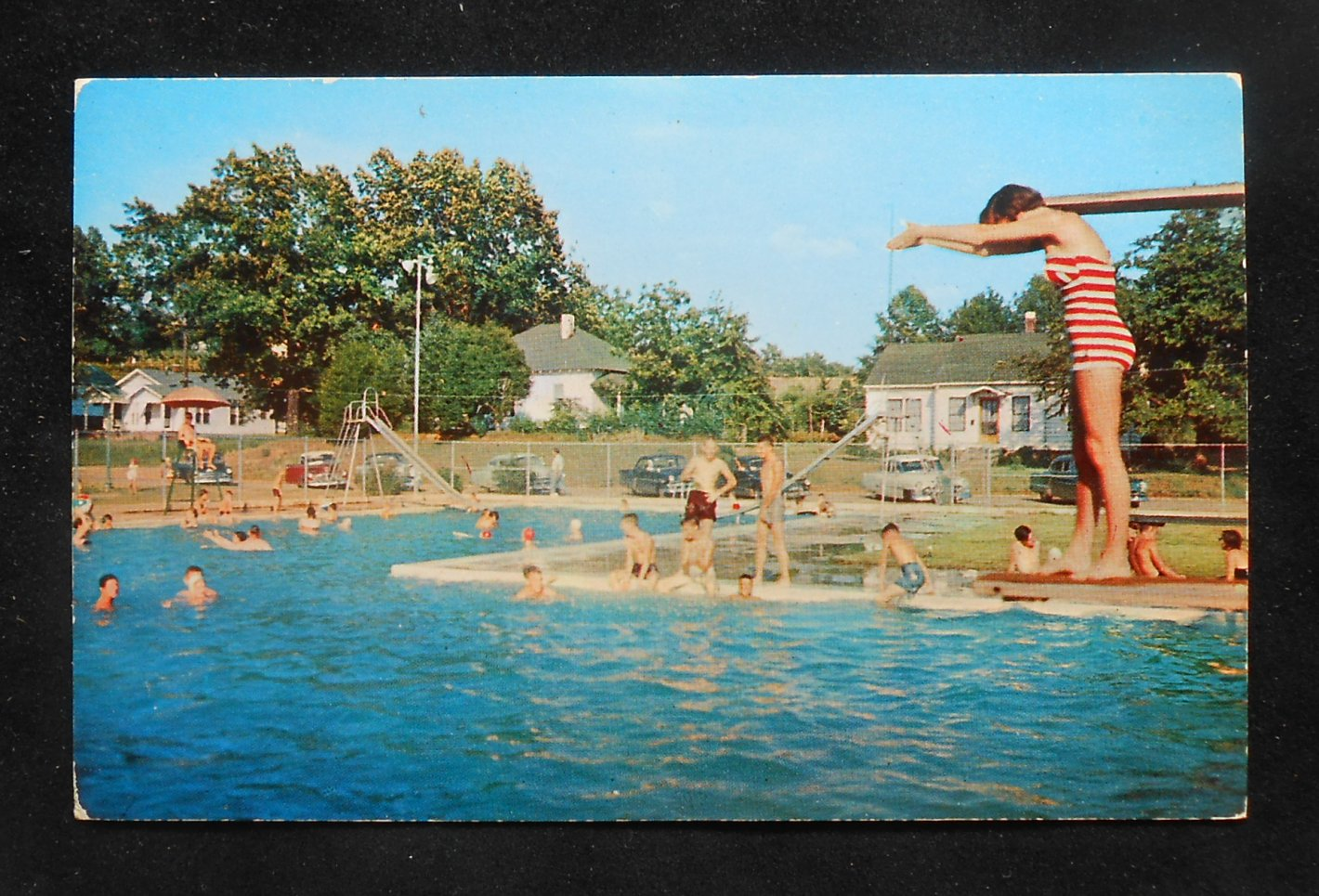 1950s Municipal Swimming Pool City Park Swimsuit Babe Old Cars New Albany Ms Pc