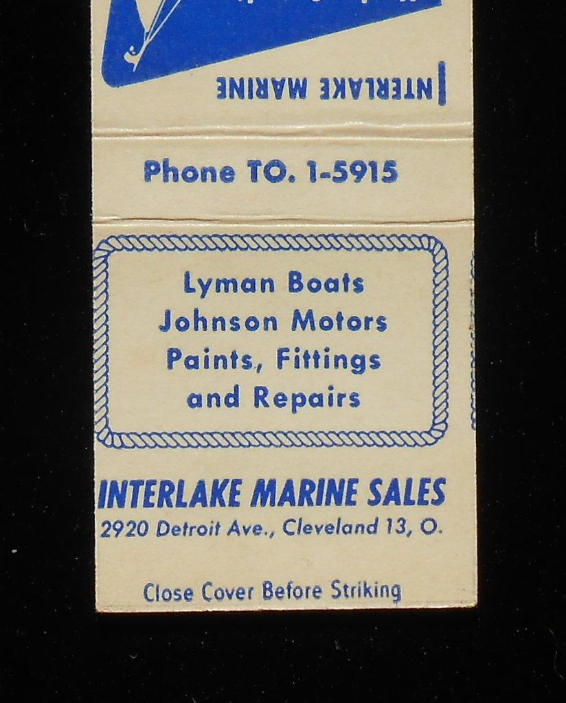1950s Matchbook Lyman Boats Johnson Motors Interlake