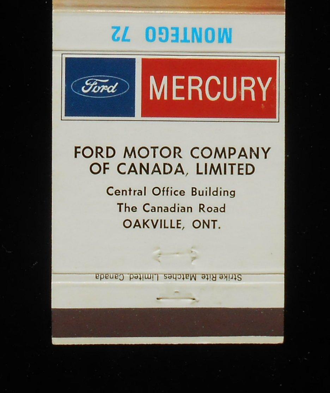 Matchbook 1972 Mercury Montego Car Auto Ford Motor Company