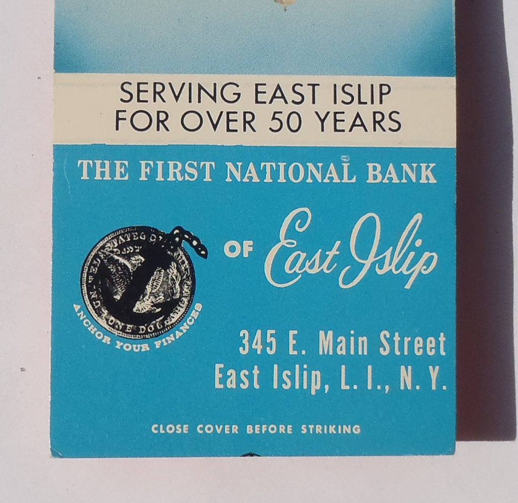 Matchbook color photo first national bank of east islip ny suffolk co