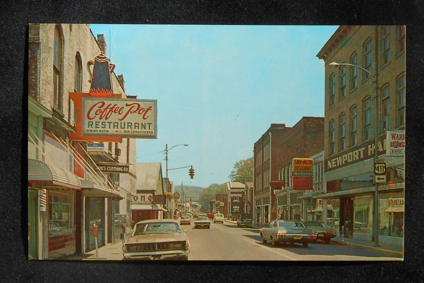 1970s street coffee pot restaurant old cars store signs for Dining in newport tn