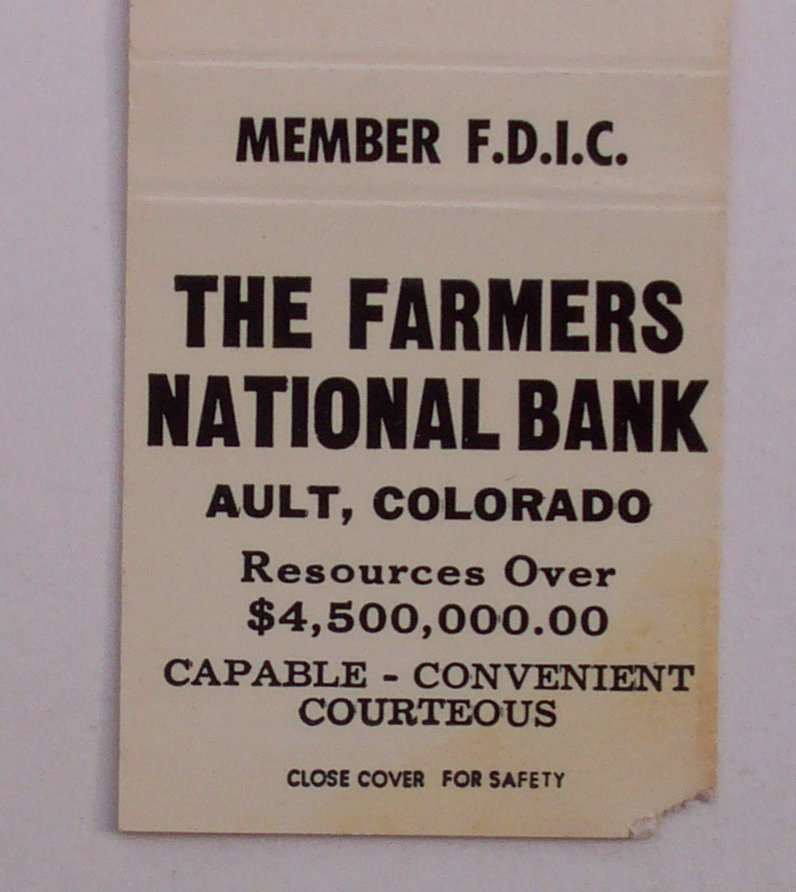 1960s Matchbook The Farmers National Bank Ault CO Weld