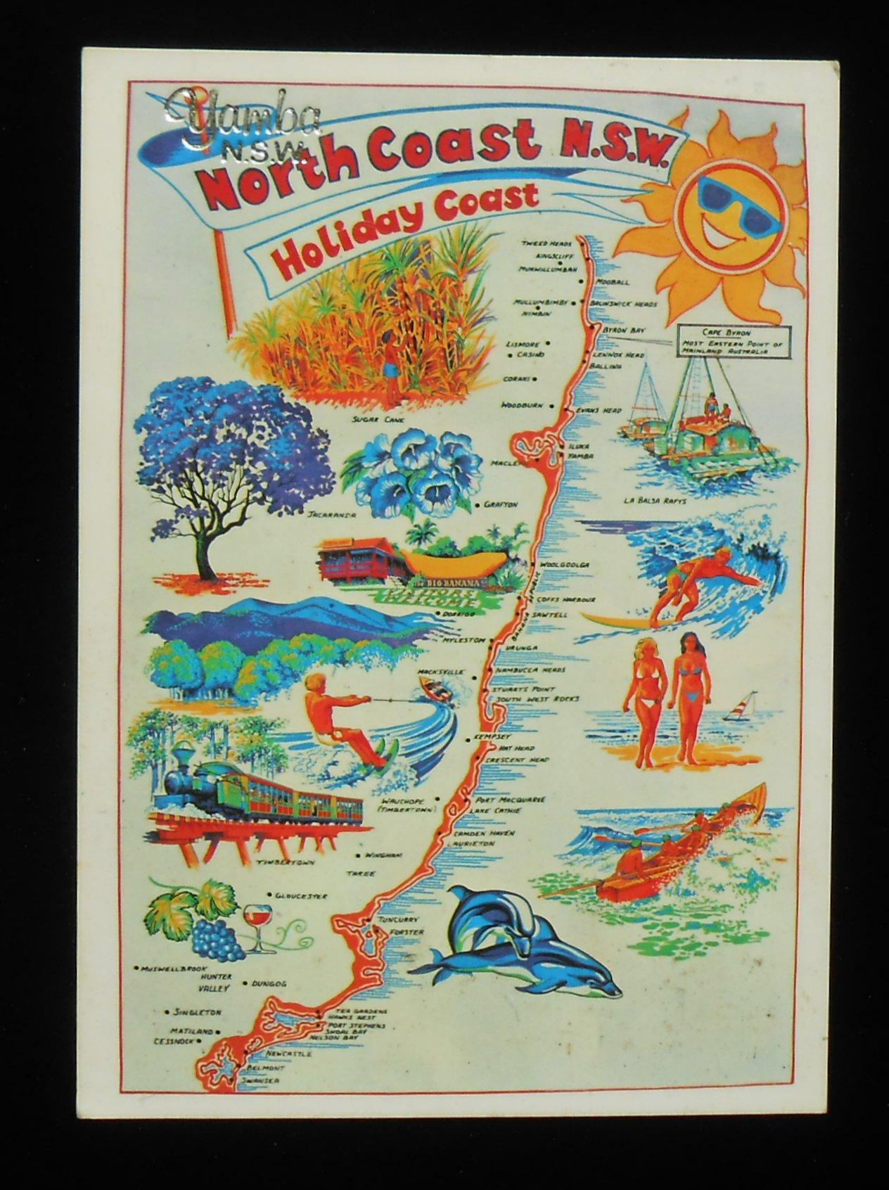 North Coast Map Landmarks Icons Yamba NSW Postcard New South Wales