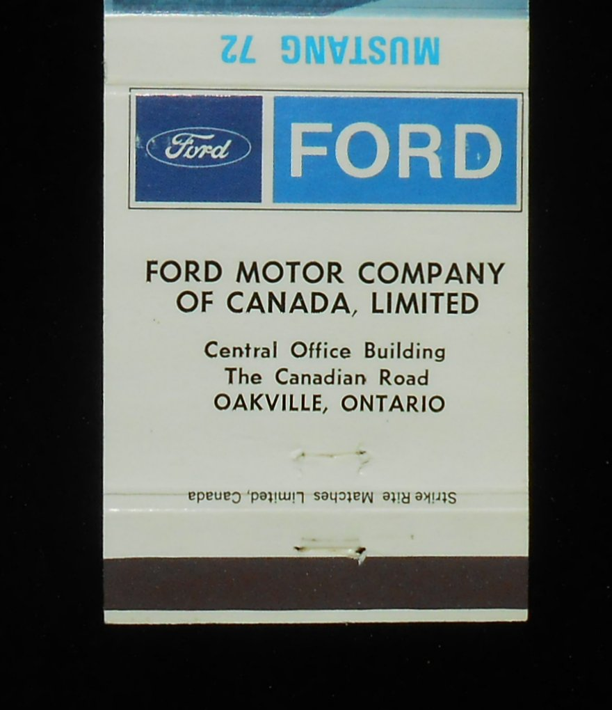 Matchbook 1972 Mustang Car Auto Ford Motor Company Of