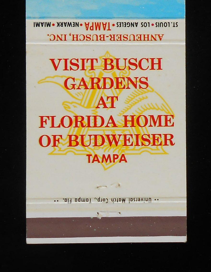 1960s matchbook busch gardens budweiser beer brewery anheuser busch tampa fl ebay for Busch gardens ez pay phone number