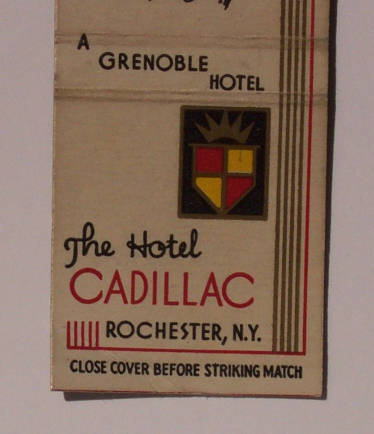 1940s Matchbook Hotel Cadillac Grenoble Rochester NY MB