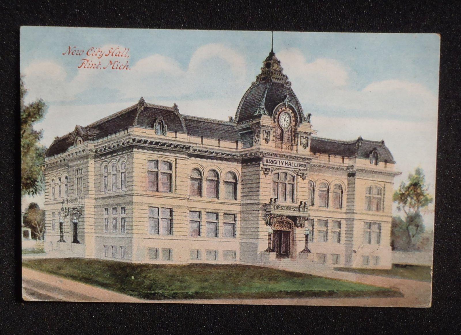 1900s New City Hall Flint Mi Genesee Co Postcard Michigan