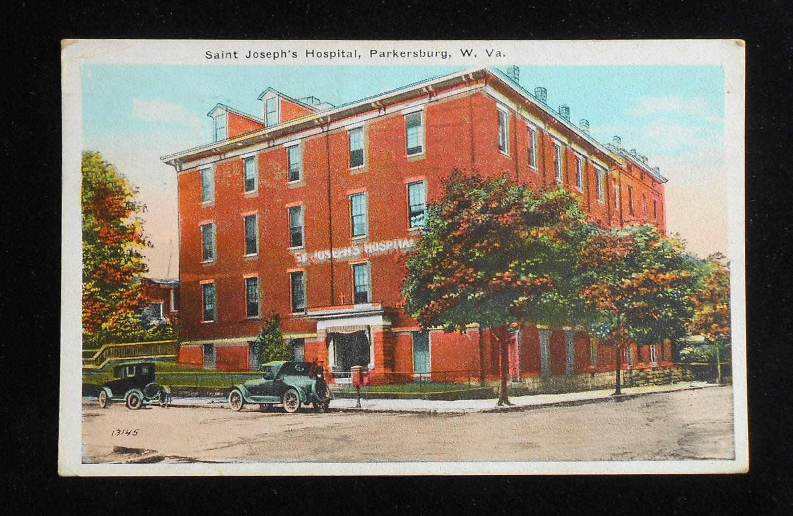 1923 saint joseph 39 s hospital old cars parkersburg wv wood co postcard ebay. Black Bedroom Furniture Sets. Home Design Ideas
