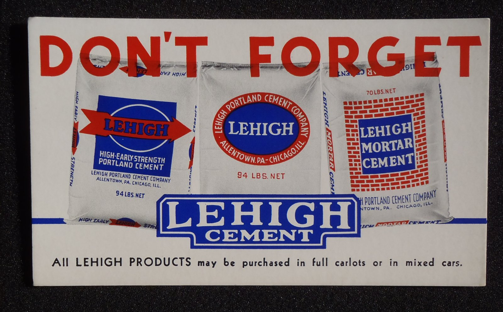 Lehigh Portland Cement : S blotter don t forget lehigh portland cement co