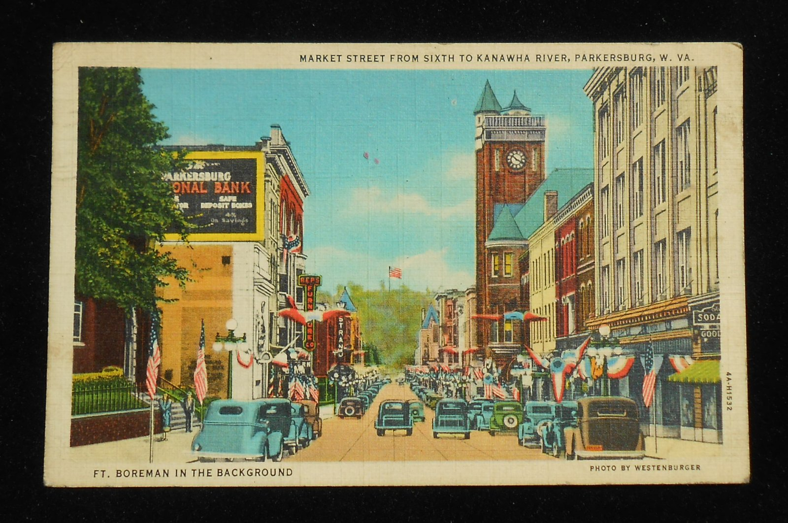 1937 market street sixth to kanawha river old cars stores signs parkersburg wv ebay. Black Bedroom Furniture Sets. Home Design Ideas