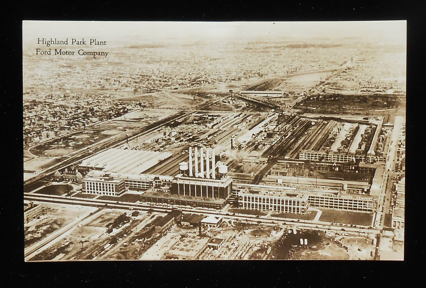 Rppc 1920s aerial view ford motor company plant model t for Ford motor company wayne mi