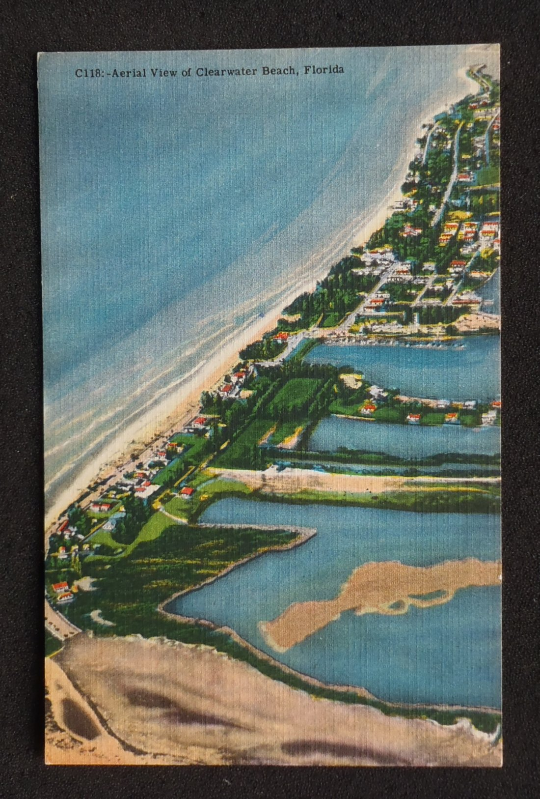 1951 Aerial View Clearwater Beach FL Pinellas Co Postcard