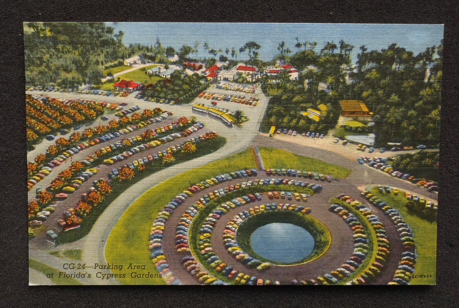 aerial view parking area old cars cypress gardens fl polk co postcard