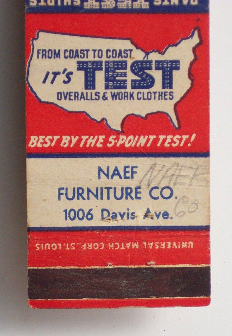 1940s Matchbook Test Pants Naef Furniture Co Mobile Al