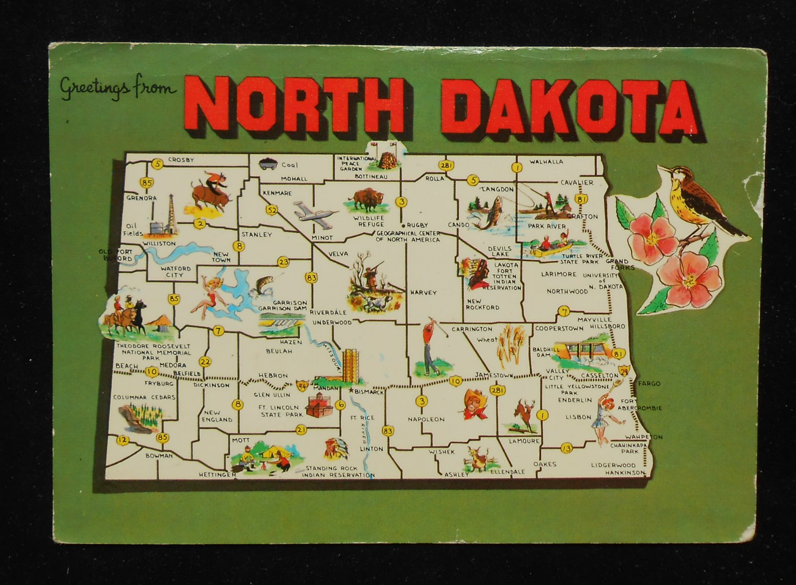 1960s North Dakota State Map Landmarks Icons Bird Flower ND Postcard