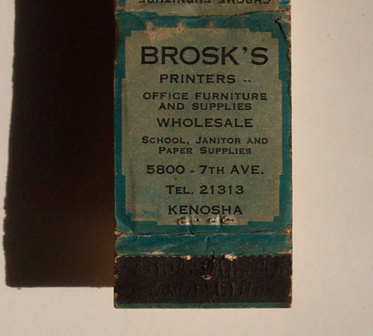 1930s Matchbook Brosk S Printers Furniture Kenosha Wi Ebay
