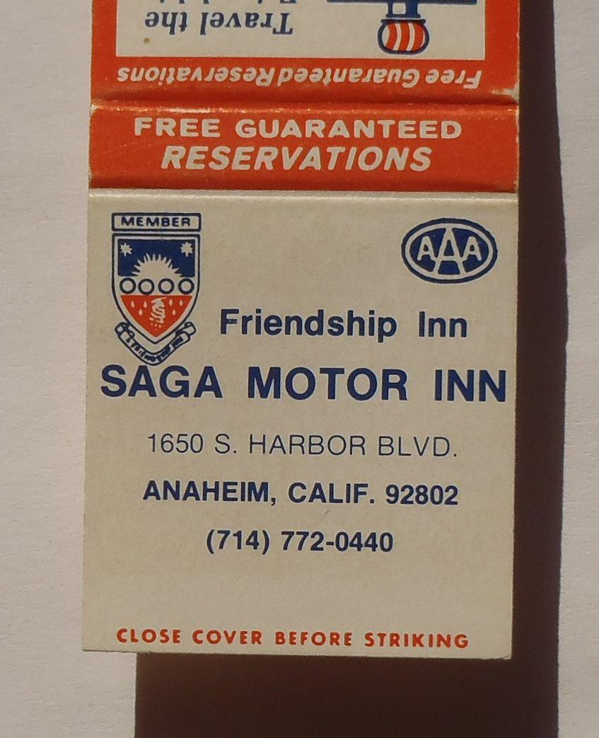 1970s Matchbook Saga Motor Inn Friendship Inn Anaheim Ca