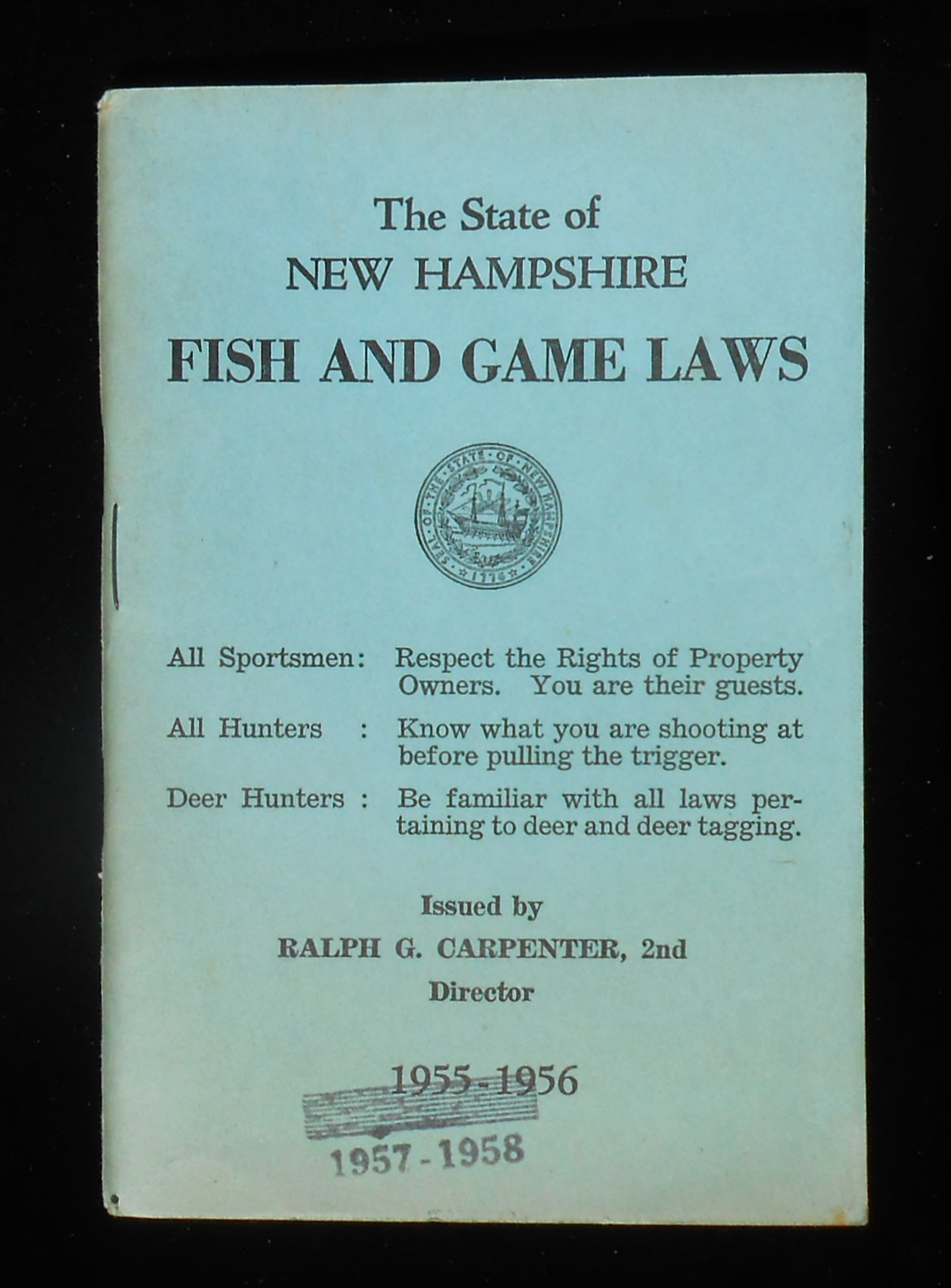 1955 new hampshire fish and game laws with 1957 changes for Fish and game