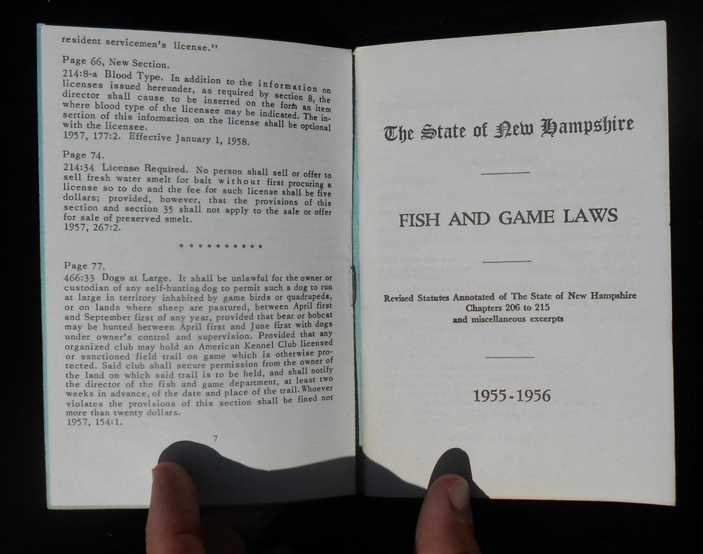 1955 new hampshire fish and game laws with 1957 changes for Nh fish game