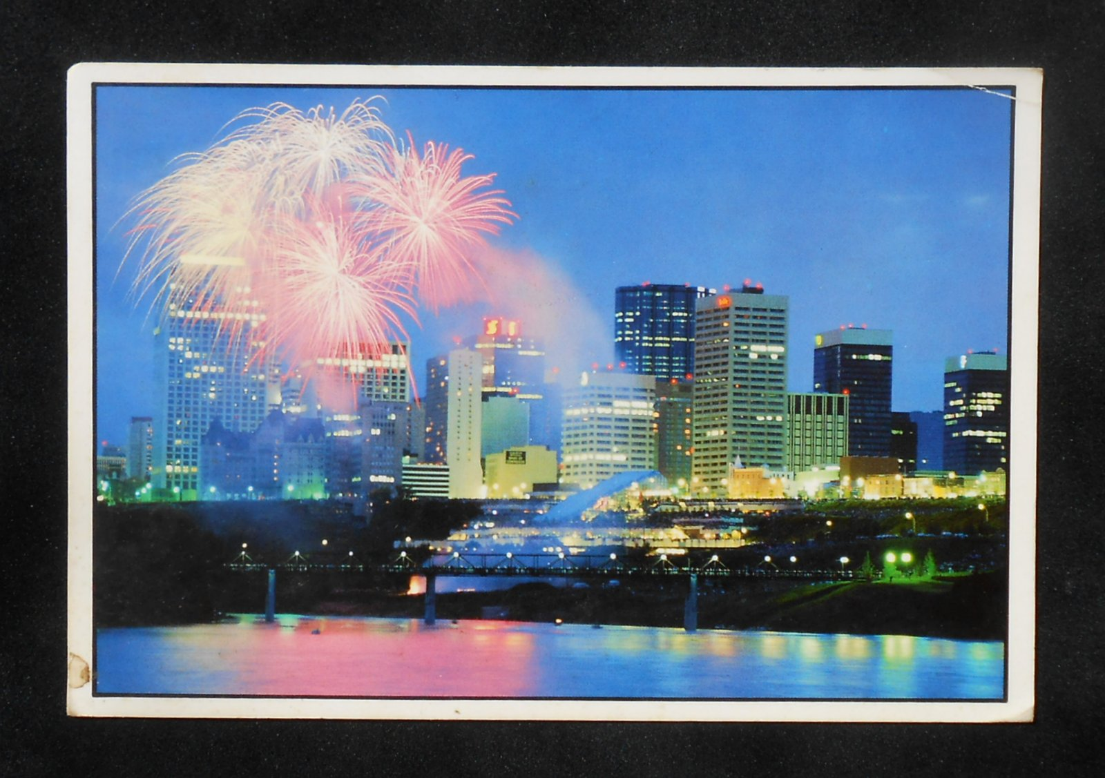 Edmonton (AB) Canada  city pictures gallery : ... Fireworks over the Skyline Postal History Edmonton AB Canada Postcard