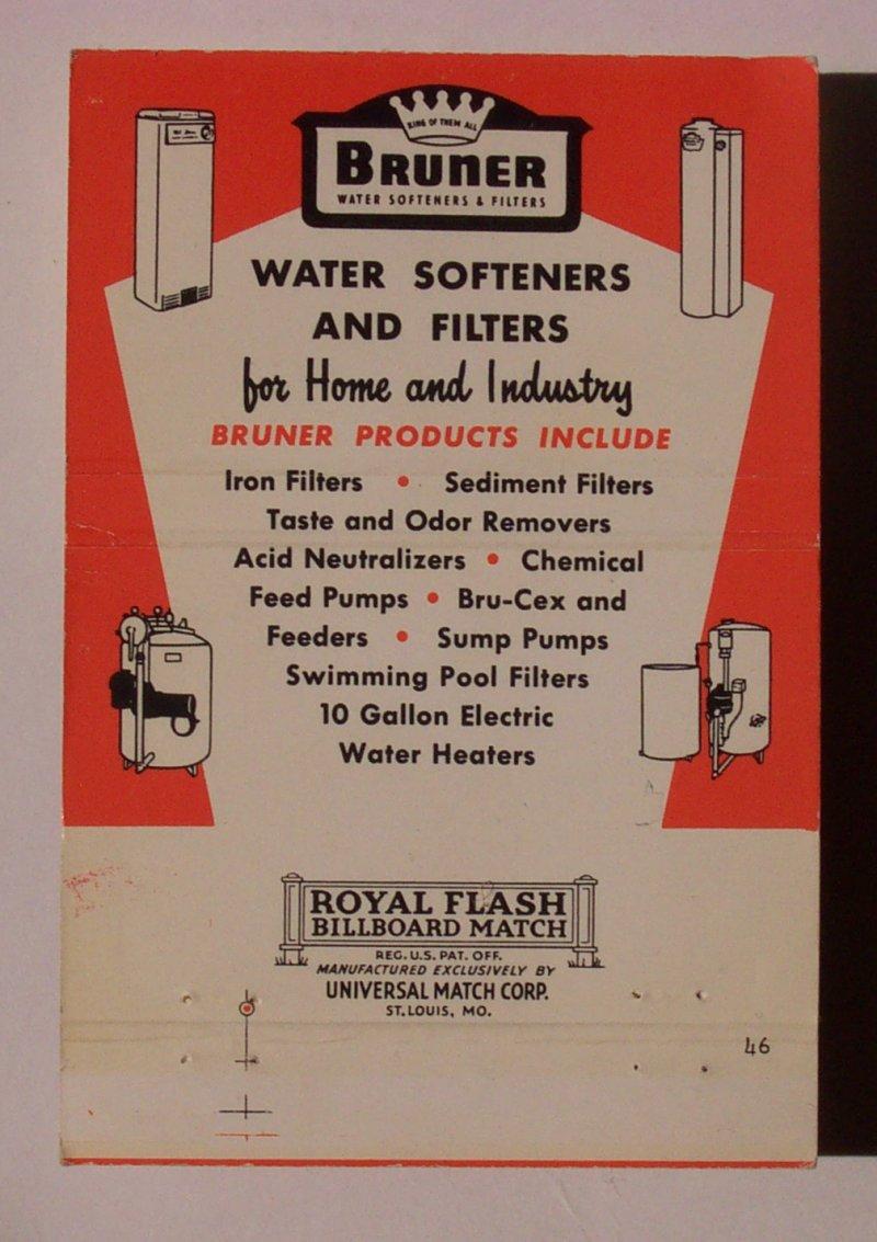 1950s Matchbook Bruner Water Softener Miller Erie Pa Mb Ebay