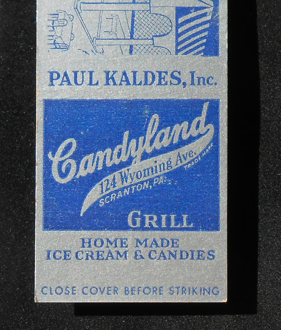 Chocolate Vanilla Creams Dunmore Candy Kitchen: 1930s? Federal Matchbook Candyland Grill Ice Cream Paul